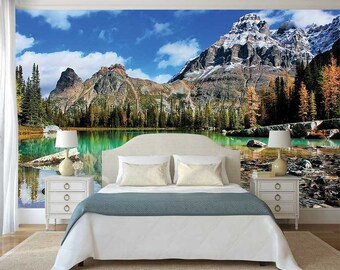 Mountain Scene Wall Mural, Rocky Mountains Wallpaper, Nature Wall Mural,  Lake Wall Decal
