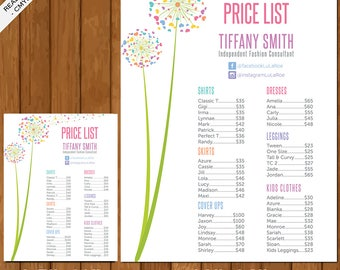 LLR Price List Poster 18x24 / 8.5x11, Price Chart, Newest Style Summer 2017, Home Office Approved, Dandelion, Fashion Consultant Retailer 01