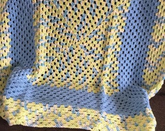 Blue and yellow crochet Afghan