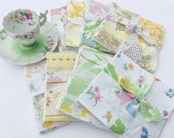 vintage sheet quilt squares patches 5 inch retro floral stripe charm pack quilting bedding precut fabric