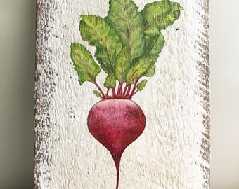 Beet Painting on Reclaimed Barn Wood 13 1/2 x 8 3/4 by Zata Palange