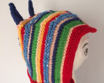 My Little Devil:  handknit multi colored hat with horns and ties under chin