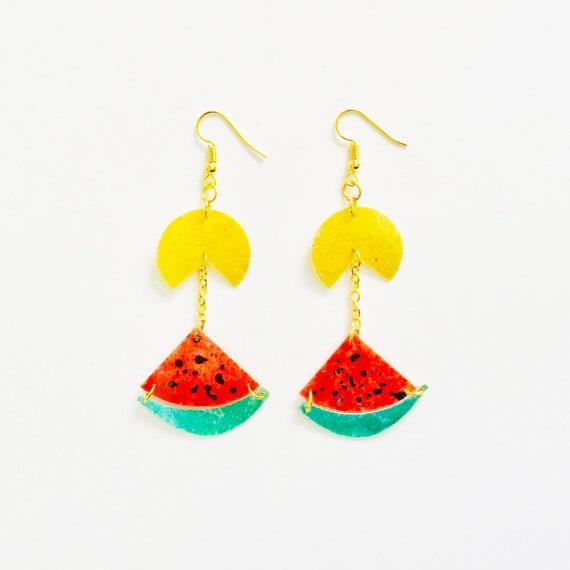 Pacman eats watermelon drops earring - Watermelon tropical earrings - Trending jewelry - Rockabilly pacman Jewelry - Novelty fruit earring