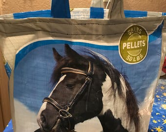 Feed Bag Tote, Reusable Tote Bag, Up-Cycled Tote, Shopping Tote, Recycled shopping bags, Famers Market Tote, Dumor Horse, Horse Bag