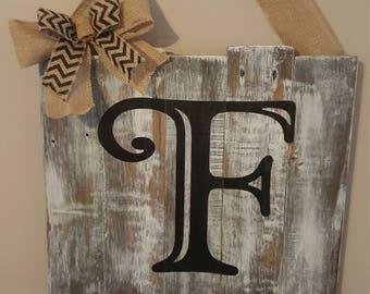 Personalized monogram wood plaque with burlap bow and burlap hanging ribbon