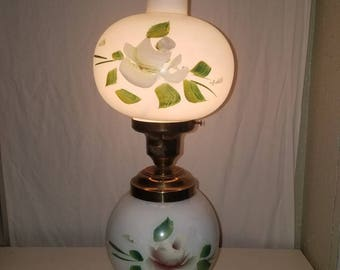 "Vintage Brass Gone with the wind 17"" table lamp white globe  painted flowers"