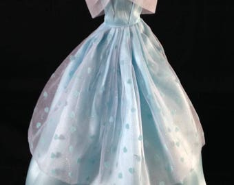 Barbie Ball Gown/satin/blue/white/lace/rhinestone/Barbie clothes/Barbie dress/ Barbie fashion/Barbie evening gown/Barbie princess/girls/