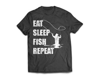"Handmade screen printed ""eat sleep fish repeat"" funny joke humour fishing black and white t'shirt"