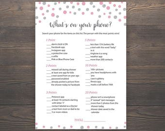 Pink Silver Baby Shower Games, Whats on your Phone, Printable Baby Shower, Girl Baby Shower, Cell Phone Game, Whats in your Phone, S011