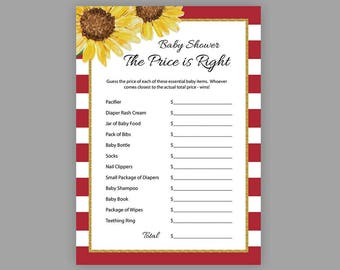 Red White Stripes, Gold, Baby Shower Games, Price is Right, Printable Baby Shower, Gold Baby Shower, Price is Right Baby Shower Game, S027