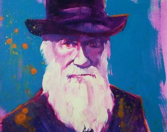 Funky Colorful Darwin Portrait