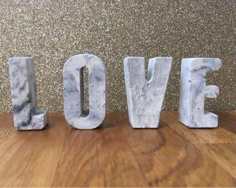Concrete letter, concrete marble , unique gift, concrete marble effect, housewarming present, wedding, gift, concrete decorative item