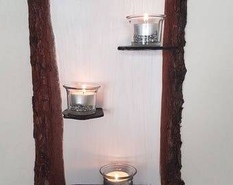 Noble white wall decoration candle holder wall shelf wooden handmade unique vintage