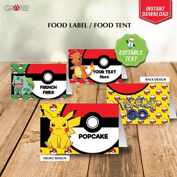 Pokemon Food Tent Printable Editable Text Pokemon Food