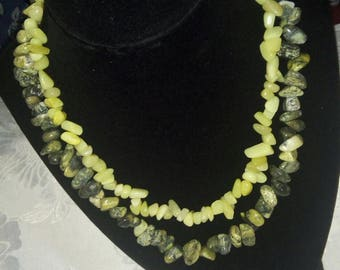 Yellow Turquoise and Olive Jade multi strand necklace