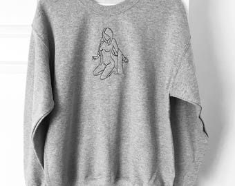 Embroidered unisex 'female' sweater