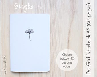 Dot Grid Notebook, Travelers Notebook Insert, Bullet Journal, Bullet Journal Notebook, A5 Notebook, Midori Insert, Botanical Print, Floral