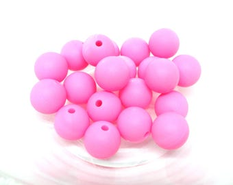 Pink Silicone 12mm - 10 beads
