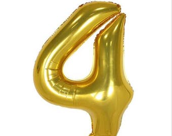 "40"" Gold Number Four 4 Balloon, Birthday Party and New Year Party etc ... 1,2,3,4,5,6,7,8,9,0"