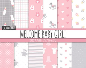 Baby Girl Digital Paper Pack. Pink and Grey Baby Patterns with cute Backgrounds. Digital Scrapbook - Its a girl - Teddy, bottle..