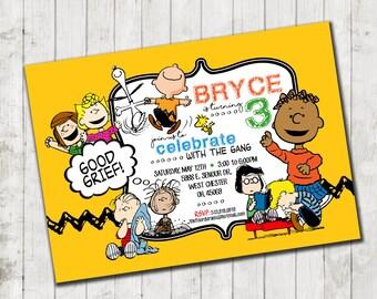 Charlie Brown inspired birthday invitation - high resolution digital file