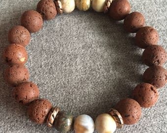 Brown Lava and Ocean Jasper Beaded Bracelet