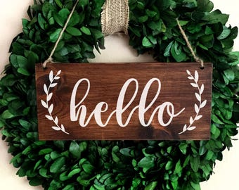 Spring Hello Door Sign | Hanging Hello Sign | Rustic Hello Sign | Entryway Sign | Wood Hello Sign | Wreath Sign | Welcome Sign | Hello Decor