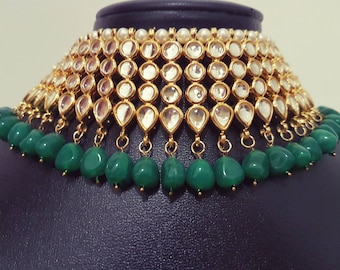 Gorgeous Indian kundan green beads bridal / non-bridal choker with mangtikka and earrings set
