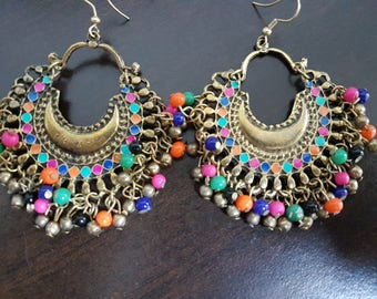Multi-Coloured hoop Enamel Silver oxidised long chandelier chandbalis party festive wear
