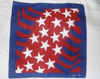 Vintage Red White & Blue Cotton Bandana • stars and stripes bandanna