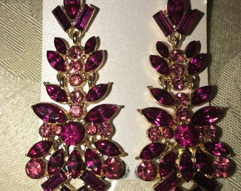 Pink Two Tone Crystal Dangle Earrings