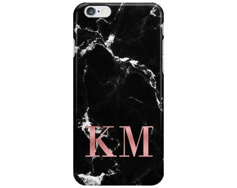 Personalised Name initials Black Rose Gold Marble Phone Case Cover for Apple iPhone 5 6 6s 7 8 Plus & Samsung Galaxy Customized Monogram