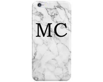 Personalised Name initials White Black Marble Phone Case Cover for Apple iPhone 5 6 6s 7 8 10 X Plus & Samsung Galaxy Customized Monogram