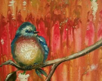 Happiness, bluebird painting, bluebird art, acrylic painting, nature art, home decor