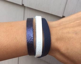 Custom Women's Boho Bracelet, Leather Wrap Bracelet, Metallic Blue, White and Navy Leather Wrap Bracelet, Leather Bracelet