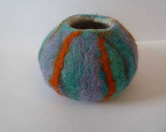 Wet felted bowl, vessel, ornament, handmade, perfect unique gift, one of a kind.