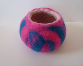 Hot Pink and Royal Blue felt bowl