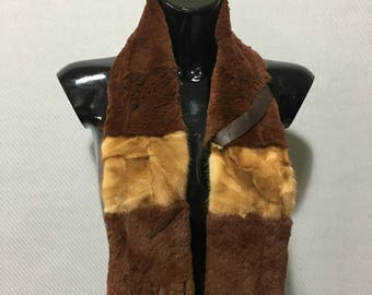 Rex rabbit With mink  Real Fur Scarf