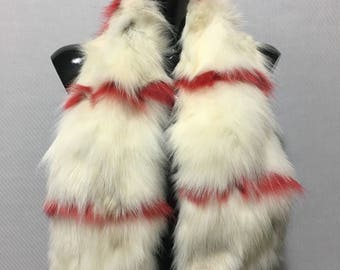 White cream and Red Fox Fur Collar- Scarf