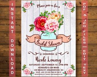 Mason Jar Bridal Shower Invitation, Instant Download, Jar Bridal Shower Invitation, Jar Bridal Shower, Mason Jar Bridal Shower, Mason Jar
