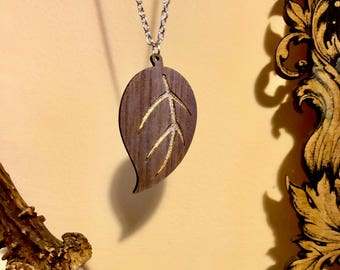 Walnut Wood Leaf Necklace