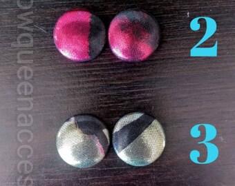 Medium African Print Button Earrings/Button Earrings/Fabric Button Earrings/ Ankara Button Earrings/ Medium Button Earrings