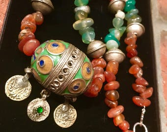 Morrocan Tagmoute Berber Tuareg Silver Egg Carnelian and green Quartzite Necklace.