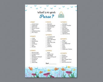 Whats in Your Purse, Baby Shower Games Printable, Ocean Water Sea Fishes, Purse Raid, Purse Hunt, What's In Your Bag, Bag Raid, B005