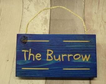 Harry Potter. Decorative destination sign. The Burrow. Blue.