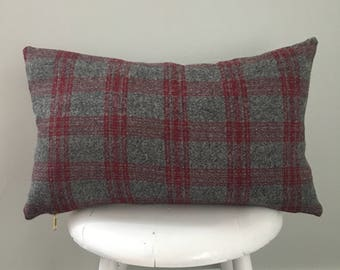 Plaid flannel lumbar pillow