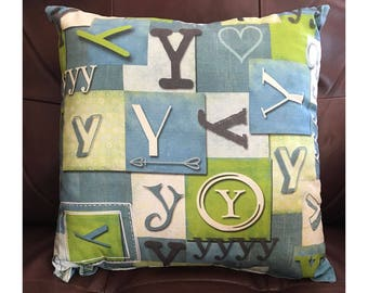 Shabby Look Initial Y Throw Pillow