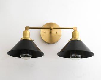 Wall sconce vanity light wall light industrial lighting for Gold bathroom wall lights
