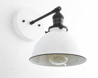 Industrial Wall Sconce   Bathroom Lighting   White Metal Shade Lamp    Vanity Wall Lights
