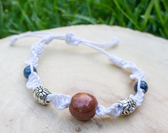 Macrame hemp bracelet, wood beads, metal beads, ceramic beads
